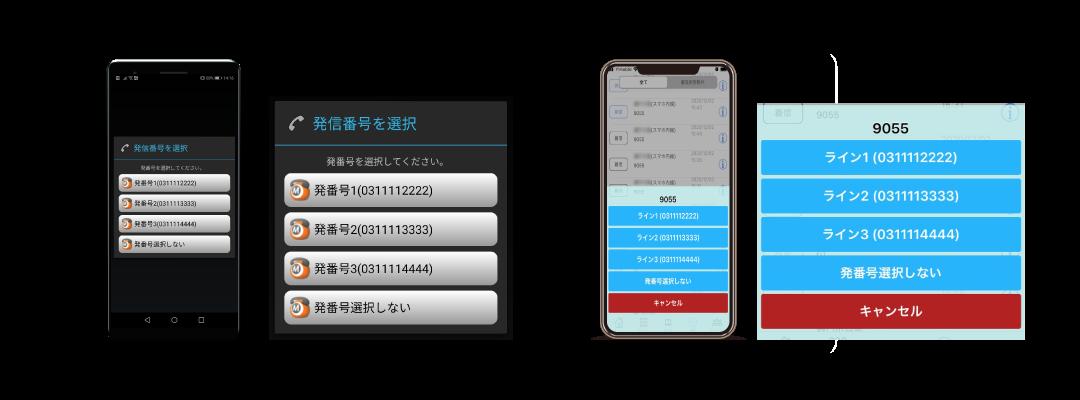 発信番号の選択イメージ