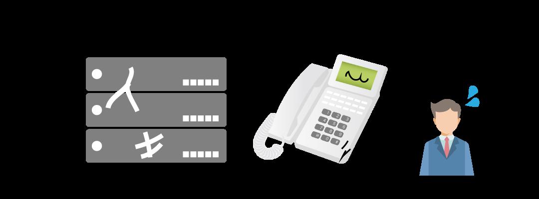 老朽化したビジネスフォン・PBXを利用し続けるリスク1「急に壊れる可能性が高まる」