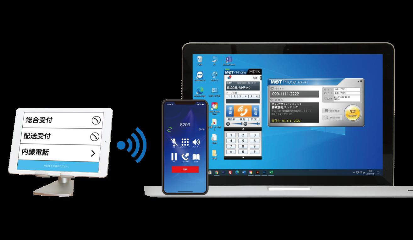 クラウドPBX iPad受付システム「スマホ・パソコン電話と連携」