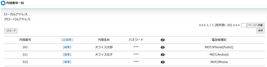 MOT/PBX管理用パソコンで確認できる内線番号一覧画面